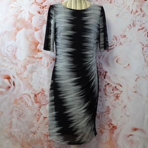 Ann Klein Ruched Black & White Dress Size 10